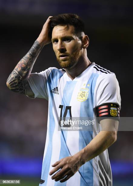 Lionel Messi of Argentina gestures during an international friendly match between Argentina and Haiti at Alberto J Armando Stadium on May 29 2018 in...