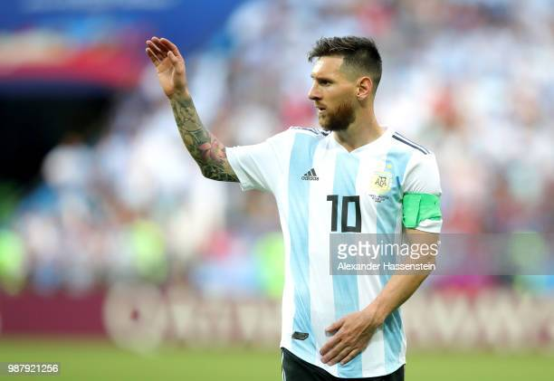 Lionel Messi of Argentina gestures during the 2018 FIFA World Cup Russia Round of 16 match between France and Argentina at Kazan Arena on June 30...