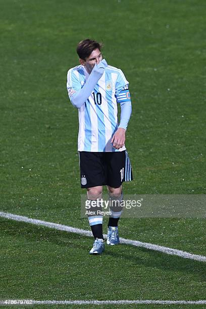 Lionel Messi of Argentina gestures in the penalty shootout during the 2015 Copa America Chile quarter final match between Argentina and Colombia at...