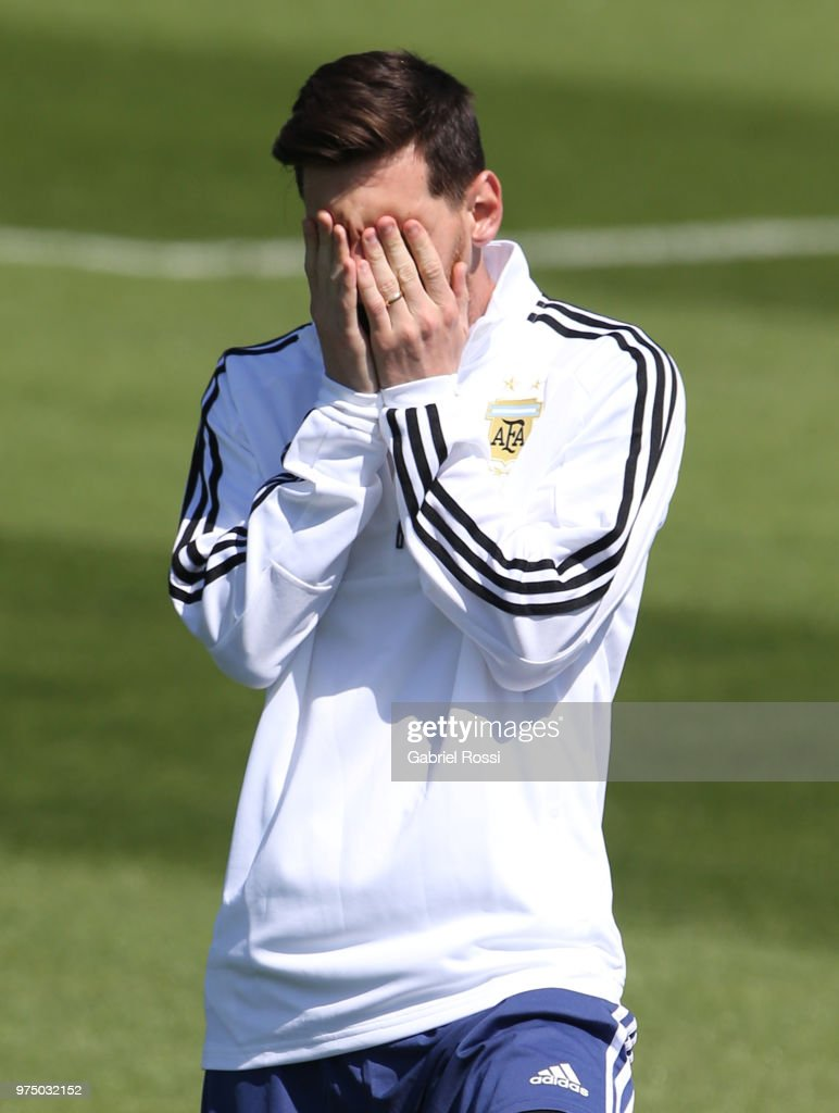 Lionel Messi of Argentina gestures prior the last training session before their first game of the FIFA World Cup 2018 at Bronnitsy Training Camp on June 15, 2018 in Bronnitsy, Russia.