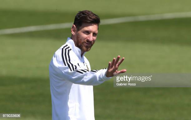 Lionel Messi of Argentina gestures prior the last training session before their first game of the FIFA World Cup 2018 at Bronnitsy Training Camp on...