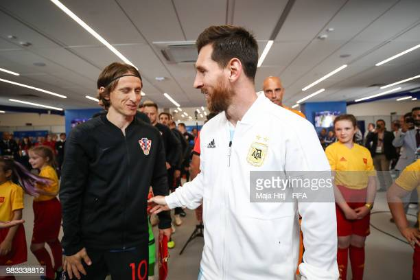 Lionel Messi of Argentina greeds Luka Modric of Croatia prior to the 2018 FIFA World Cup Russia group D match between Argentina and Croatia at Nizhny...