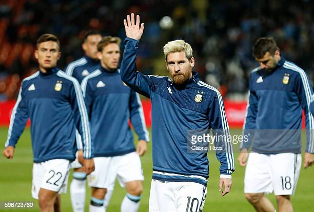 Lionel Messi of Argentina greets fans before a match between Argentina and Uruguay as part of FIFA 2018 World Cup Qualifiers at Malvinas Argentinas...