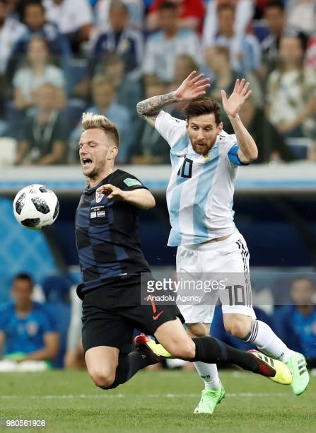 Lionel Messi of Argentina in action against Ivan Rakitic of Croatia during the 2018 FIFA World Cup Russia Group D match between Argentina and Croatia...