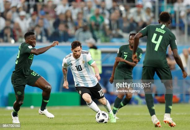Lionel Messi of Argentina in action against Kenneth Omeruo of Nigeria during the 2018 FIFA World Cup Russia Group D match between Nigeria and...