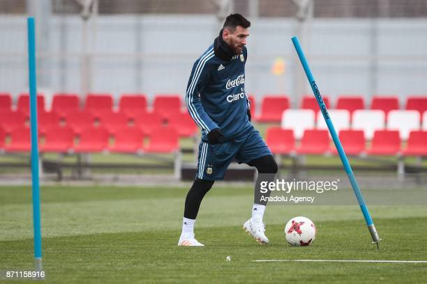 Lionel Messi of Argentina in action during a training session at Spartak Stadium on November 7 2017 in Moscow Russia