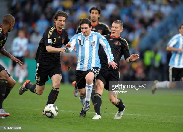 Lionel Messi of Argentina in action during the 2010 FIFA World Cup Quarter Final match between Argentina and Germany at Green Point Stadium in Cape...
