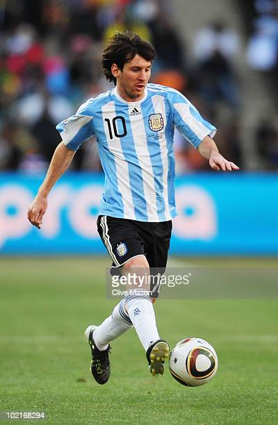 Lionel Messi of Argentina in action during the 2010 FIFA World Cup South Africa Group B match between Argentina and South Korea at Soccer City...