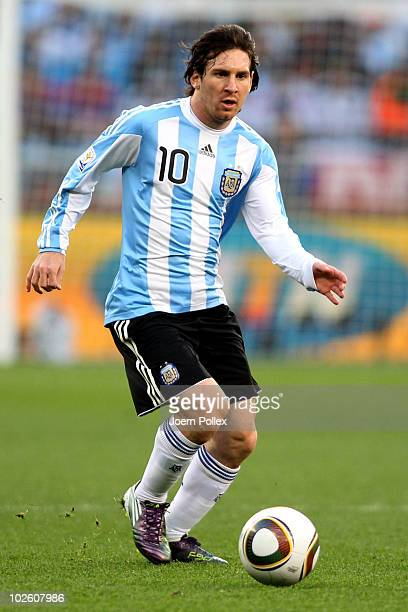 Lionel Messi of Argentina in action during the 2010 FIFA World Cup South Africa Quarter Final match between Argentina and Germany at Green Point...
