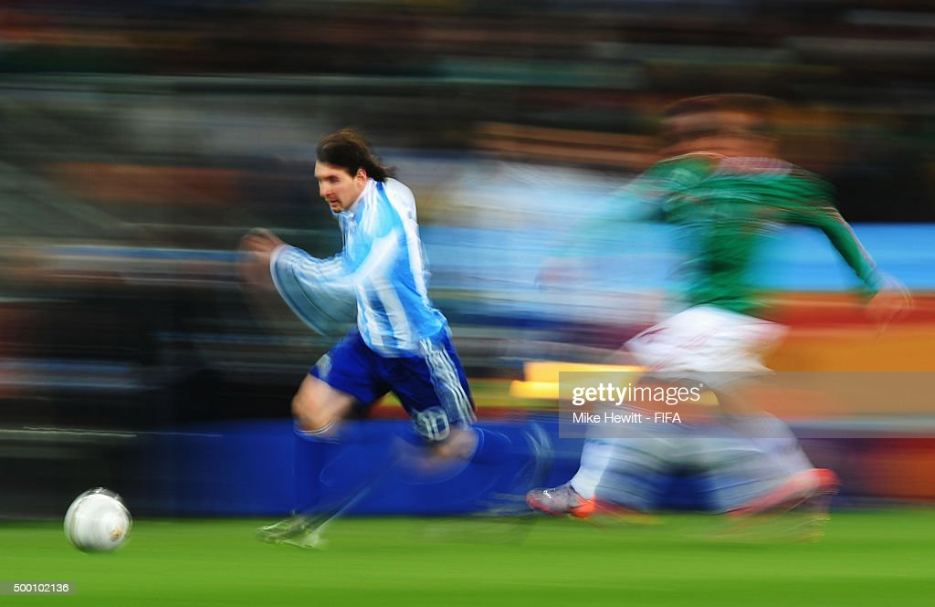 Lionel Messi of Argentina in action during the 2010 FIFA World Cup South Africa Round of Sixteen match between Argentina and Mexico at Soccer City Stadium on June 27, 2010 in Johannesburg, South Africa.