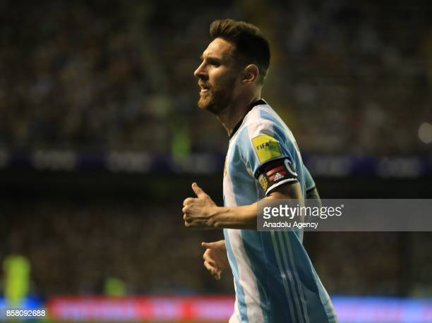 Lionel Messi of Argentina in action during the 2018 FIFA World Cup Qualification match between Argentina and Peru at the Estadio Alberto J Armando...