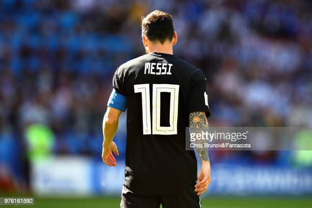Lionel Messi of Argentina in action during the 2018 FIFA World Cup Russia group D match between Argentina and Iceland at Spartak Stadium on June 16...