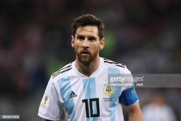 Lionel Messi of Argentina in action during the 2018 FIFA World Cup Russia group D match between Argentina and Croatia at Nizhny Novgorod Stadium on...