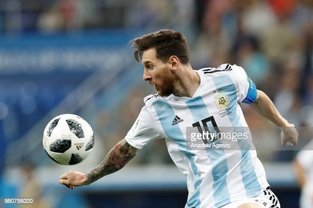 Lionel Messi of Argentina in action during the 2018 FIFA World Cup Russia Group D match between Argentina and Croatia at Nizhny Novgorod Stadium in...