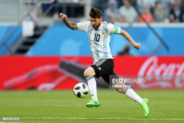 Lionel Messi of Argentina in action during the 2018 FIFA World Cup Russia group D match between Nigeria and Argentina at Saint Petersburg Stadium on...