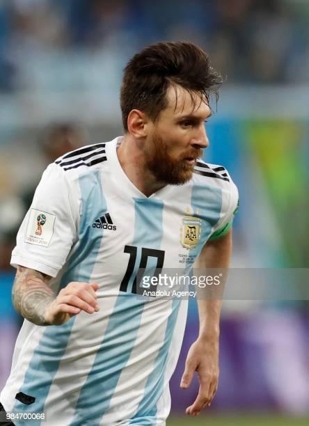 Lionel Messi of Argentina in action during the 2018 FIFA World Cup Russia Group D match between Nigeria and Argentina at the Saint Petersburg Stadium...
