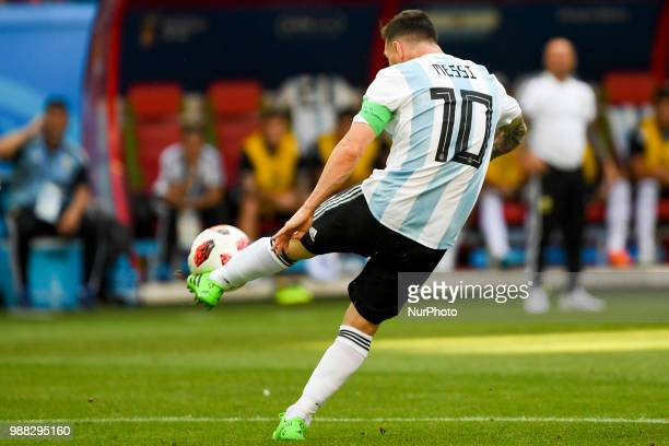 Lionel Messi of Argentina in action during the 2018 FIFA World Cup Round of 16 match between France and Argentina at Kazan Arena in Kazan Russia on...