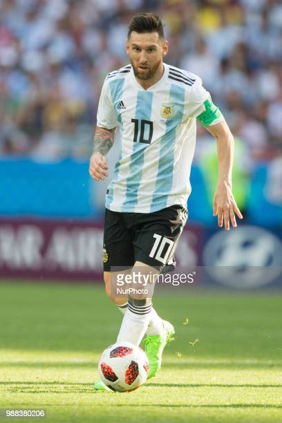 Lionel Messi of Argentina in action during the 2018 FIFA World Cup Russia Round of 16 match between France and Argentina at Kazan Arena on June 30...