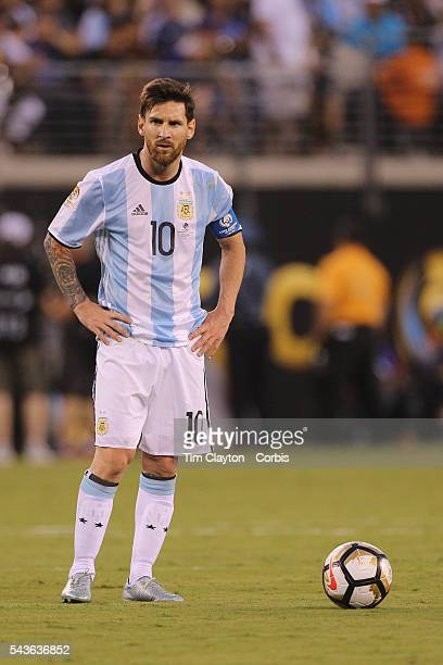 Lionel Messi of Argentina in action during the Argentina Vs Chile Final match of the Copa America Centenario USA 2016 Tournament at MetLife Stadium...