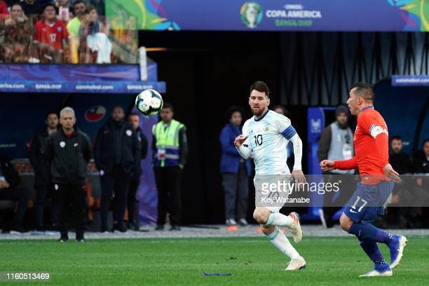 Lionel Messi of Argentina in action during the Copa America Brazil 2019 Third Place match between Argentina and Chile at Arena Corinthians on July 06...