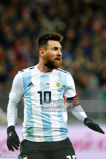Lionel Messi of Argentina in action during the international friendly match between Russia and Argentina at BSA OC 'Luzhniki' Stadium in Moscow...