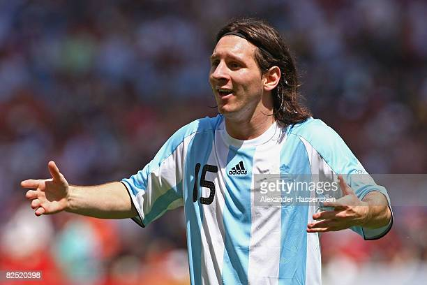 Lionel Messi of Argentina in action during the Men's Gold Medal football match between Nigeria and Argentina at the National Stadium on Day 15 of the...