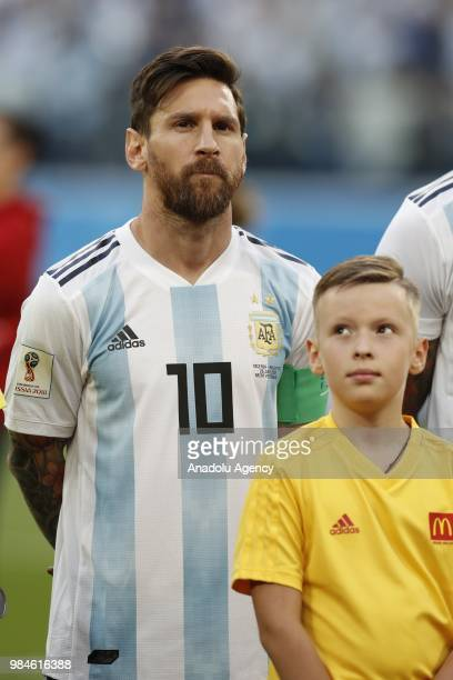 Lionel Messi of Argentina is seen ahead of the 2018 FIFA World Cup Russia Group D match between Nigeria and Argentina at the Saint Petersburg Stadium...