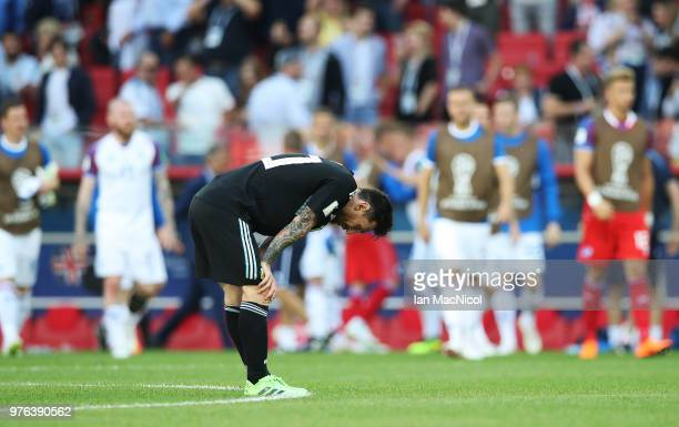 Lionel Messi of Argentina is seen at full time during the 2018 FIFA World Cup Russia group D match between Argentina and Iceland at Spartak Stadium...