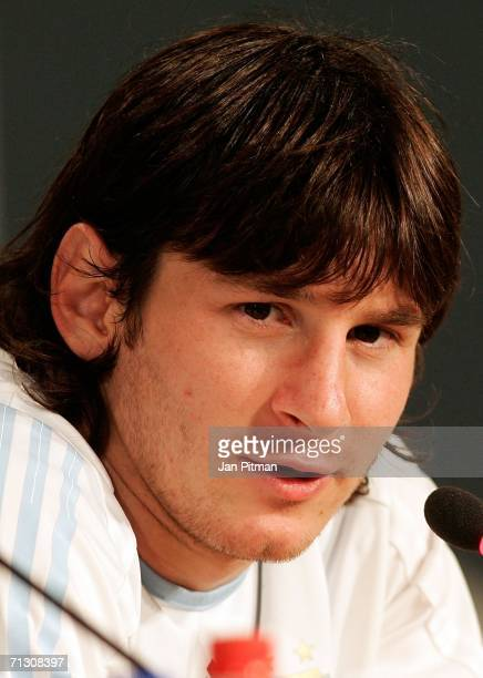 Lionel Messi of Argentina is seen during a press conference at the AdiDassler Sports Field on June 27 2006 in Herzogenaurach Germany Argentina plays...