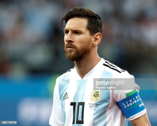 Lionel Messi of Argentina is seen during the 2018 FIFA World Cup Russia Group D match between Argentina and Croatia at Nizhny Novgorod Stadium in...