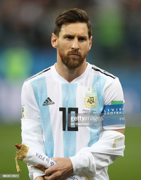 Lionel Messi of Argentina is seen during the 2018 FIFA World Cup Russia group D match between Argentina and Croatia at Nizhny Novgorod Stadium on...