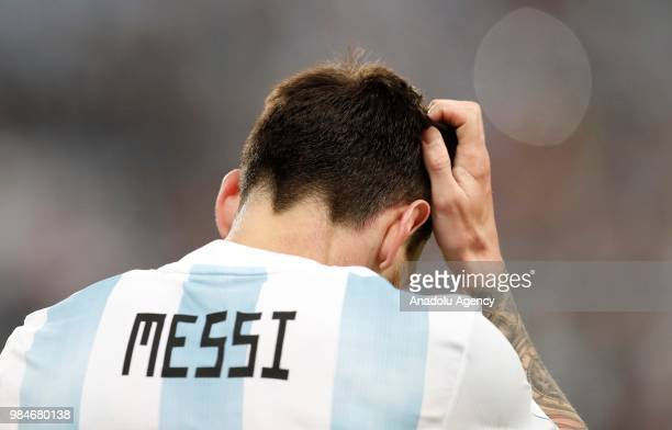 Lionel Messi of Argentina is seen during the 2018 FIFA World Cup Russia Group D match between Nigeria and Argentina at the Saint Petersburg Stadium...