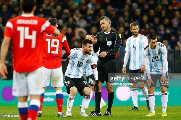 Lionel Messi of Argentina is seen during the international friendly match between Russia and Argentina at BSA OC 'Luzhniki' Stadium in Moscow Russia...