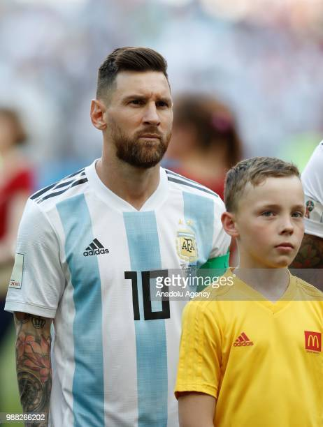 Lionel Messi of Argentina is seen prior to 2018 FIFA World Cup Russia Round of 16 match between France and Argentina at the Kazan Arena in Kazan...