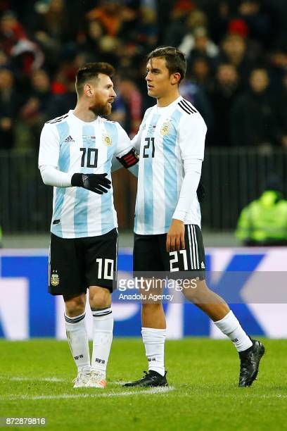 Lionel Messi of Argentina is seen with his teammate during the international friendly match between Russia and Argentina at BSA OC 'Luzhniki' Stadium...