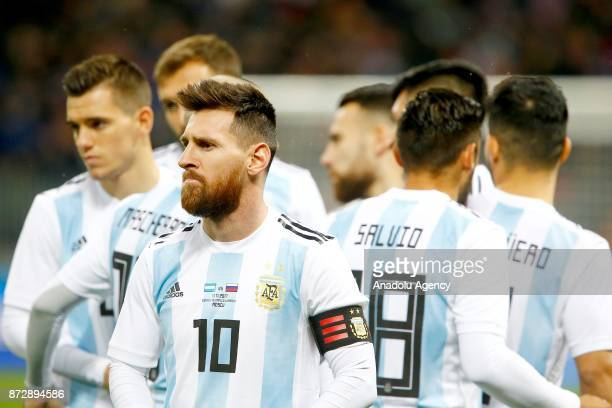 Lionel Messi of Argentina is seen with his teammates during the international friendly match between Russia and Argentina at BSA OC 'Luzhniki'...