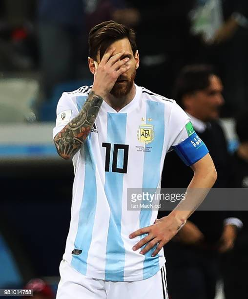 Lionel Messi of Argentina is seenl during the 2018 FIFA World Cup Russia group D match between Argentina and Croatia at Nizhny Novgorod Stadium on...