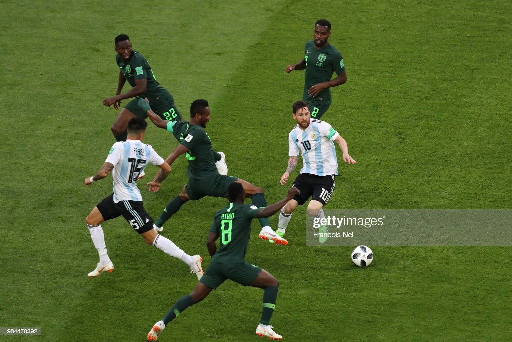 Lionel Messi of Argentina is surrounded by Nigeria players during the 2018 FIFA World Cup Russia group D match between Nigeria and Argentina at Saint Petersburg Stadium on June 26, 2018 in Saint Petersburg, Russia.
