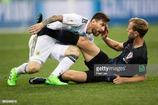 Lionel Messi of Argentina Ivan Strinic of Croatia during the 2018 FIFA World Cup Russia group D match between Argentina and Croatia at the Novgorod...