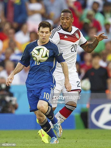 Lionel Messi of Argentina Jerome Boateng of Germany during the final of the FIFA World Cup 2014 on July 13 2014 at the Maracana stadium in Rio de...