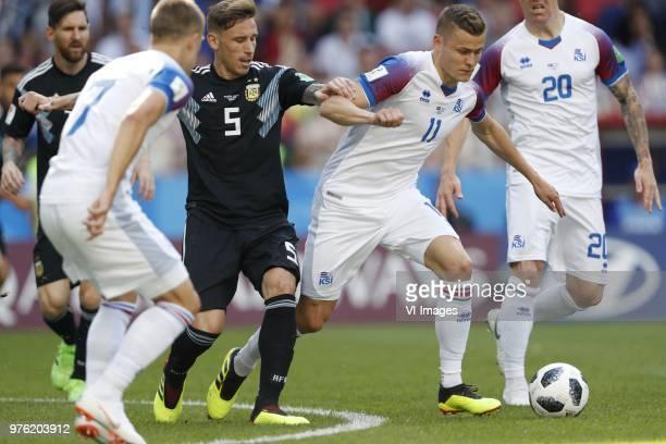 Lionel Messi of Argentina Johann Berg Gudmundsson of Iceland Lucas Biglia of Argentina Alfred Finnbogason of Iceland Emil Hallfredsson of Iceland...