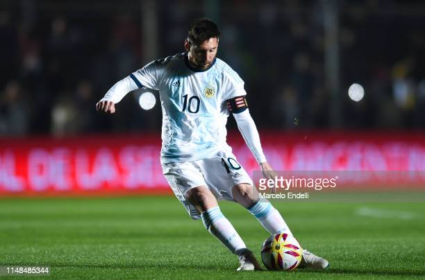 Lionel Messi of Argentina kicks the ball during a friendly match between Argentina and Nicaragua at Estadio San Juan del Bicentenario on May 7 2019...