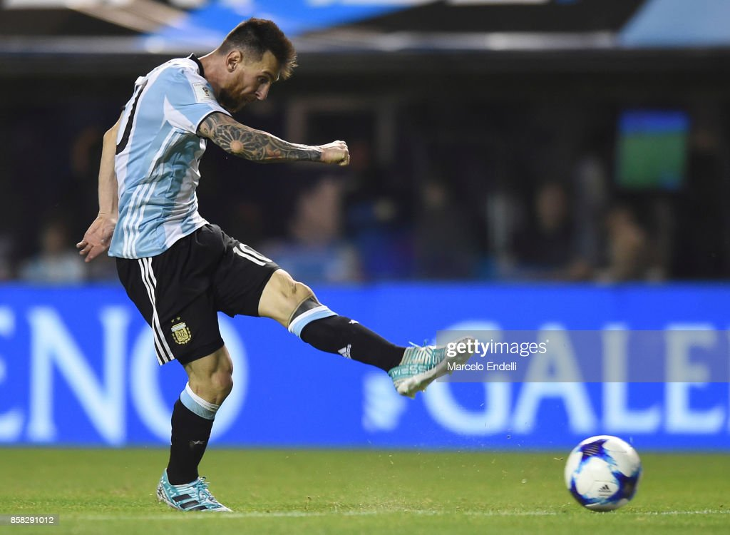 Lionel Messi of Argentina kicks the ball during a match between Argentina and Peru as part of FIFA 2018 World Cup Qualifiers at Estadio Alberto J. Armando on October 5, 2017 in Buenos Aires, Argentina.