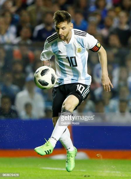 Lionel Messi of Argentina kicks the ball during an international friendly match between Argentina and Haiti at Alberto J Armando Stadium on May 29...