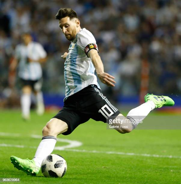 Lionel Messi of Argentina kicks the ball during an international friendly match between Argentina and Haiti at Alberto J. Armando Stadium on May 29,...