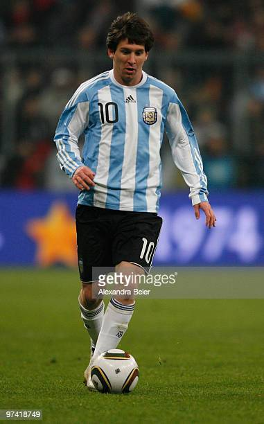 Lionel Messi of Argentina kicks the ball during an international friendly match between Germany and Argentina at the Allianz Arena on March 3 2010 in...
