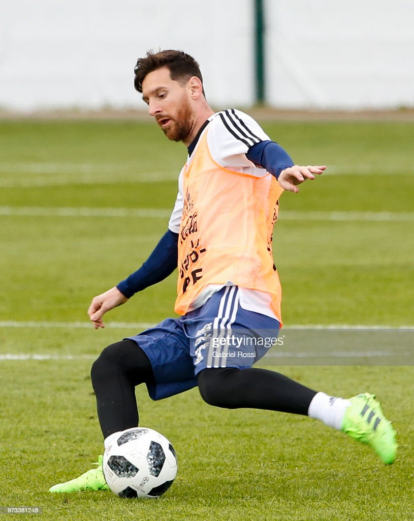 Lionel Messi of Argentina kicks the ball during an open to public training session at Bronnitsy Training Camp on June 11, 2018 in Bronnitsy, Russia.