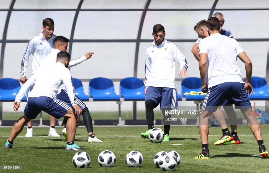Lionel Messi of Argentina kicks the ball during the last training session before their first game of the FIFA World Cup 2018 at Bronnitsy Training Camp on June 15, 2018 in Bronnitsy, Russia.