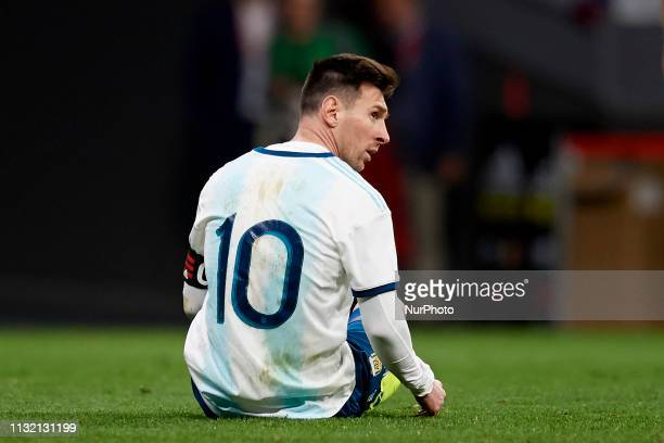 Lionel Messi of Argentina lament a failed occasion during the international friendly match between Argentina and Venezuela at Wanda Metropolitano...