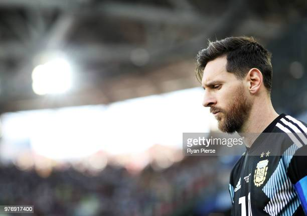 Lionel Messi of Argentina look on during the 2018 FIFA World Cup Russia group D match between Argentina and Iceland at Spartak Stadium on June 16...